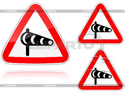Zestaw Sidewind warianty - znak drogowy | Stockowa ilustracja wysokiej rozdzielczości |ID 3012775