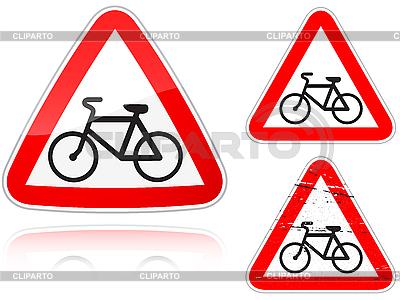 与自行车道路的交叉口 - 道路标志 | 向量插图 |ID 3012799