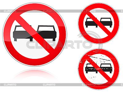 禁止超车的变种 - 道路标志设置 | 向量插图 |ID 3012803