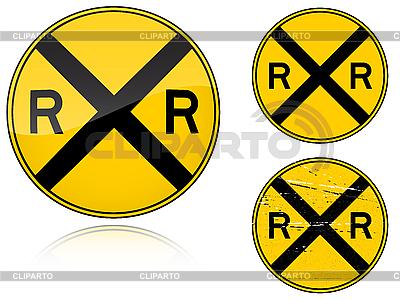 변형 수준 횡단 경고 - 도로 표지판 | 벡터 클립 아트 |ID 3012809