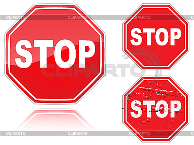 Zestaw znaków drogowych zatrzymania | Klipart wektorowy |ID 3012843