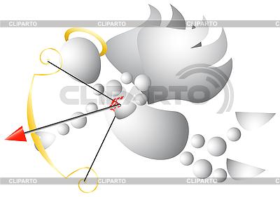 Człowiek jako Cupid z kokardą i strzałki | Klipart wektorowy |ID 3012903