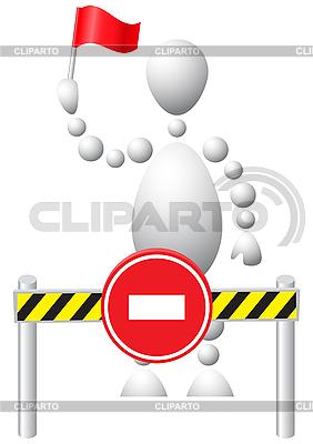 Mann mit Fahne erlaubt unterwegs nicht | Stock Vektorgrafik |ID 3012967