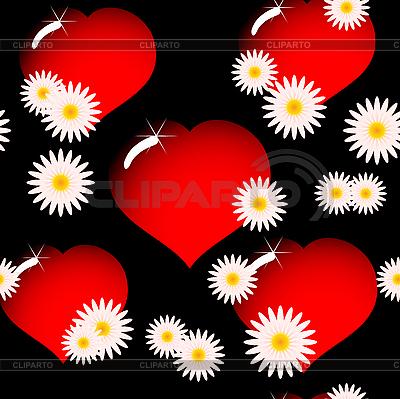 Tło z czerwonych serc szkła i kwiatów | Klipart wektorowy |ID 3013378