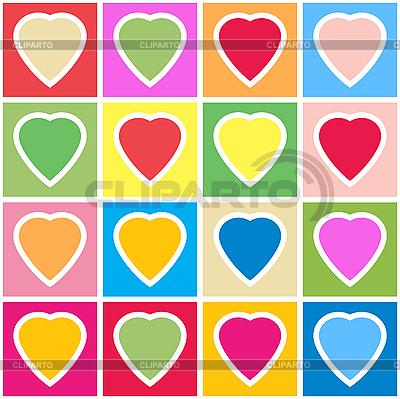 Tło z wielokolorowe serca na siatce | Klipart wektorowy |ID 3013408