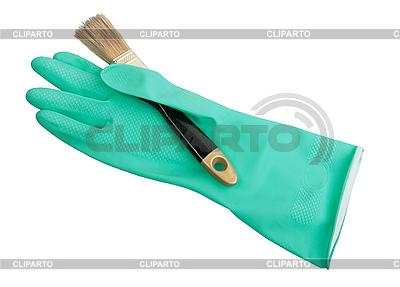 Zielone gumowe rękawice i szczotki | Foto stockowe wysokiej rozdzielczości |ID 3032691