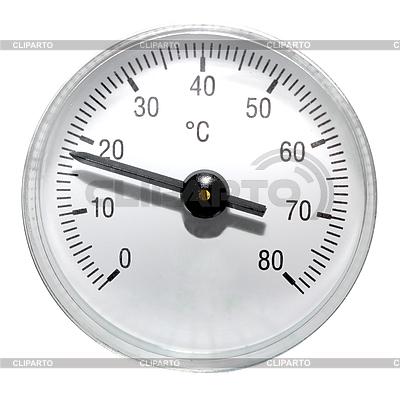 Pojedyncze okrągłe termometr | Foto stockowe wysokiej rozdzielczości |ID 3033156