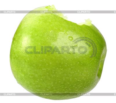 Зеленое надкушенное яблоко | Фото большого размера |ID 3033185