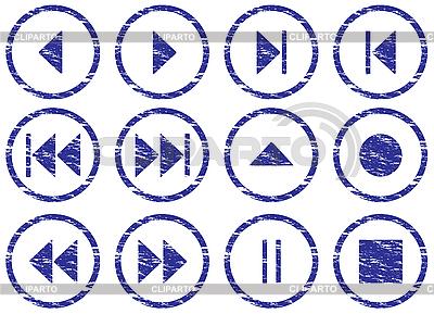 Multimedia zestaw przycisków nawigacyjnych grunge | Klipart wektorowy |ID 3063457