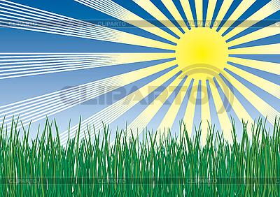 Trawa, słońce i niebo | Klipart wektorowy |ID 3063539