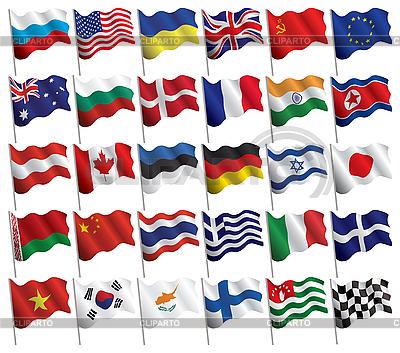 Set von wehenden Flaggen | Stock Vektorgrafik |ID 3157698