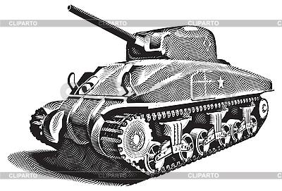 Amerykański czołg grawerowanie | Klipart wektorowy |ID 3014748