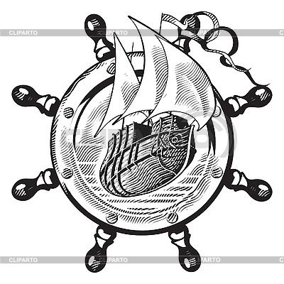Statek i grawerowanie koła | Klipart wektorowy |ID 3014902