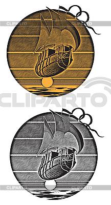 Latający statek i grawerowanie sunset | Klipart wektorowy |ID 3014914