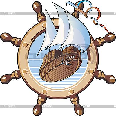 Statek i koło | Klipart wektorowy |ID 3014962