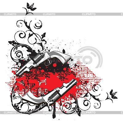 Vignette mit zwei Revolver   Stock Vektorgrafik  ID 3014992