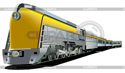 Żółty stary pociąg | Klipart wektorowy |ID 3015123