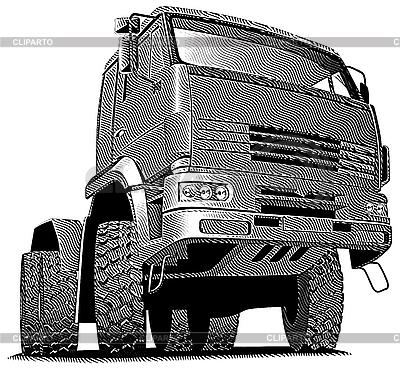 Ciężarówka grawerowanie | Klipart wektorowy |ID 3015211