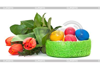 Ostereier und Tulpen | Foto mit hoher Auflösung |ID 3013977