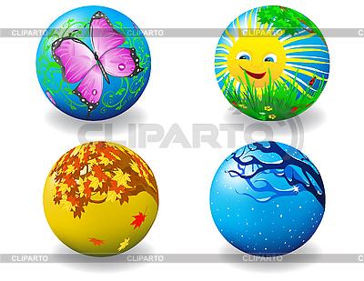 Cztery kule cztery pory roku | Stockowa ilustracja wysokiej rozdzielczości |ID 3014285