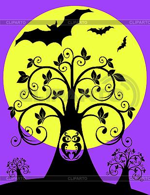 Drzewo noc z sowy | Klipart wektorowy |ID 3014327