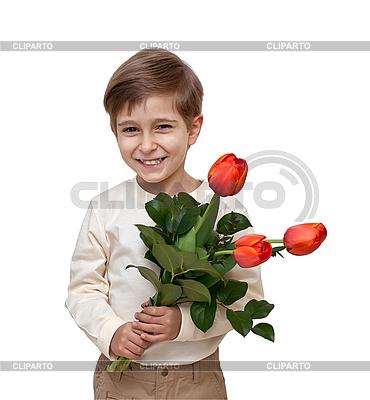 꽃의 꽃다발 가진 소년 | 높은 해상도 사진 |ID 3014597