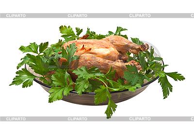 Gegrilltes Huhn auf einer Platte mit Petersilie. | Foto mit hoher Auflösung |ID 3019021