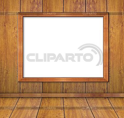 Holzrahmen auf den Brettern-Wand. | Foto mit hoher Auflösung |ID 3019071