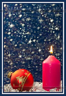 Weihnachtskarte mit Kerze | Foto mit hoher Auflösung |ID 3019089
