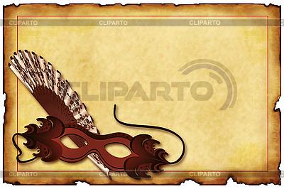 Alte Postkarte mit Karnevals-Maske | Illustration mit hoher Auflösung |ID 3019262