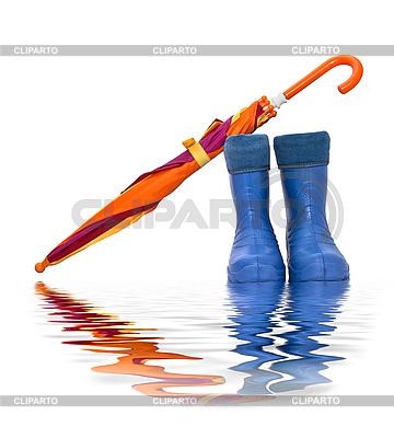 Gummistiefel und bunter Regenschirm | Foto mit hoher Auflösung |ID 3019279