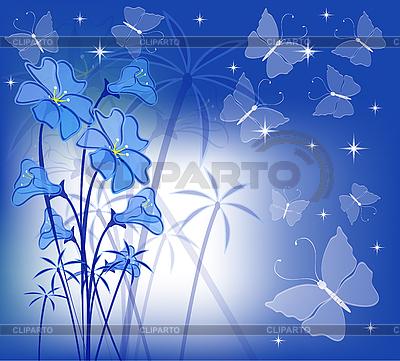 Blaue Blumen und Schmetterlinge | Stock Vektorgrafik |ID 3059466