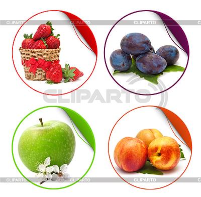 Obst-Aufkleber auf weißem Hintergrund | Foto mit hoher Auflösung |ID 3230023