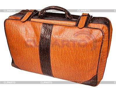 Stara skórzana walizka samodzielnie na białym tle | Foto stockowe wysokiej rozdzielczości |ID 3015765