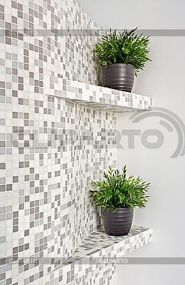 Teil von Interiors mit Mosaiken und grünen Pflanzen | Foto mit hoher Auflösung |ID 3016711