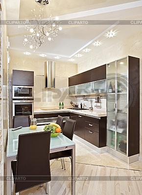 Modernes Küche-Interieur in warmen Tönen | Foto mit hoher Auflösung |ID 3016752