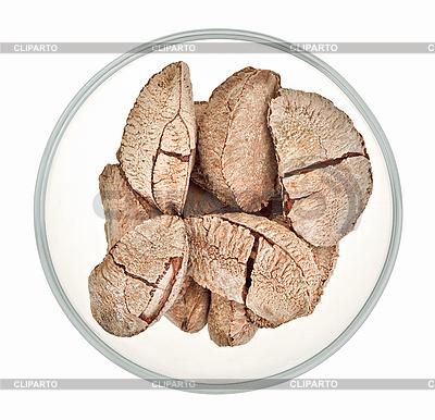 Paranüsse in einer Glasschale   Foto mit hoher Auflösung  ID 3016863