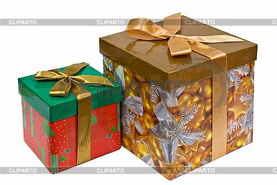 Dwa dekoracyjne pudełka ze złotą wstążką łuk na białym | Foto stockowe wysokiej rozdzielczości |ID 3016950