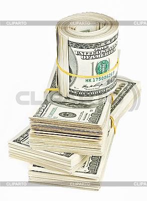 Wiele bundle and roll z USA 100 dolarów banknotów   Foto stockowe wysokiej rozdzielczości  ID 3017166