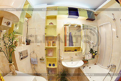 노란색과 파란색 선명한 색상에 현대적인 욕실 | 높은 해상도 사진 |ID 3017255