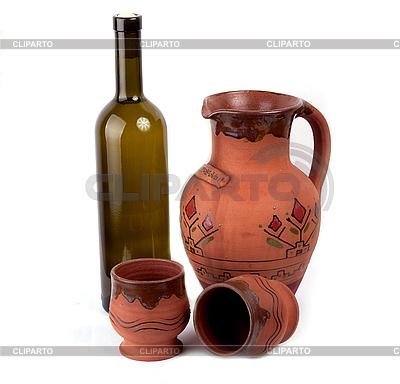 Weinflasche, Tontöpfe und Krug | Foto mit hoher Auflösung |ID 3017470