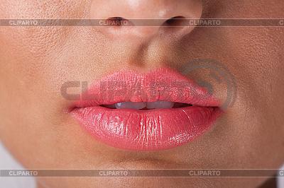 Губы сексуальной женщины с розовой помадой | Фото большого размера |ID 3017638