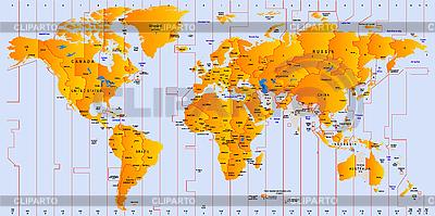 Weltkarte mit Zeitzonen | Illustration mit hoher Auflösung |ID 3019676