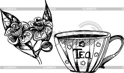 Tee und Blätter | Illustration mit hoher Auflösung |ID 3019715