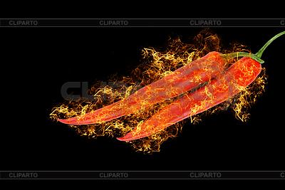 Rote Pfeffer im Feuer | Foto mit hoher Auflösung |ID 3021410