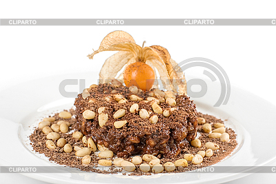 Chocolate risotto dessert closeup isolated on white background ...