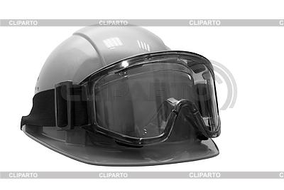 Bauhelm mit Schutzbrille | Foto mit hoher Auflösung |ID 3029413