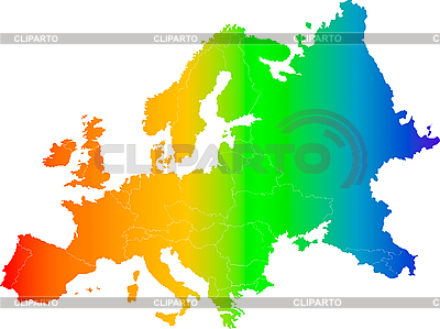 Радужная карта Европы | Иллюстрация большого размера |ID 3029744