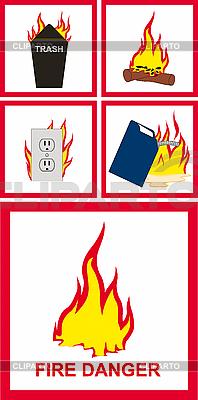 Znaki niebezpieczeństwo pożaru | Stockowa ilustracja wysokiej rozdzielczości |ID 3029751