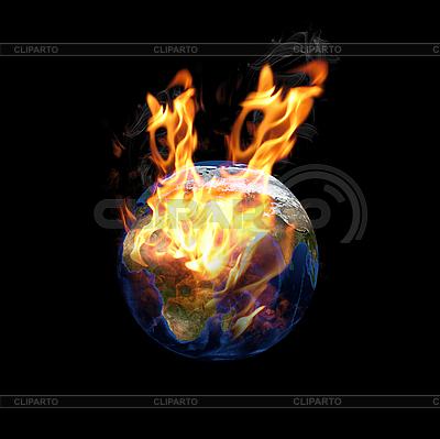 Erdkugel im Feuer | Foto mit hoher Auflösung |ID 3030567